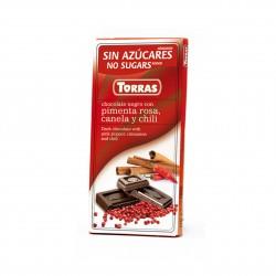 Hořká čokoláda se skořící, chilli a růžovým pepřem Torras 75g